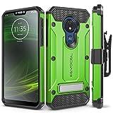 Motorola Moto G7 Power Case, Evocel [Explorer Series Pro] Premium Full Body Case with Glass Screen Protector, Belt Clip Holster, Metal Kickstand for Motorola Moto G7 Power (XT1955), Green