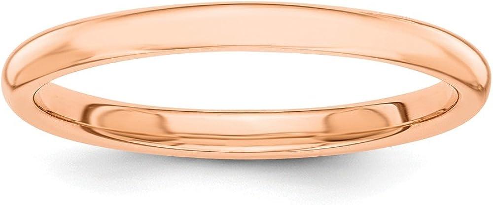 Solid 14k Rose Gold Polished 2mm Wedding Band