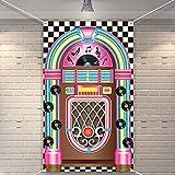Bandera de Recorte de Jukebox a los Años 50 Telón de Fondo de Bandera de Rock and Roll Decoración de Fiesta de Cumpleaños Suministros de Fiesta de Cumpleaños de Ducha de Bébe