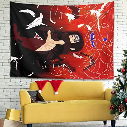 Hothotvery Tapiz Anime Itachi Crow Akatsuki para colgar en la pared, diseño interesante, color blanco, 150 x 130 cm