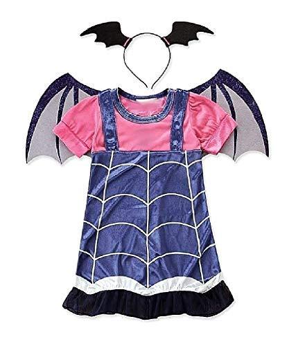 Vestito di Carnevale da Vampirina Include Cerchietto Ali Pipistrello Taglia 110 cm 4-5 anni Costume Pipistrella Travestimento Bambina Halloween Cosplay Idea Regalo
