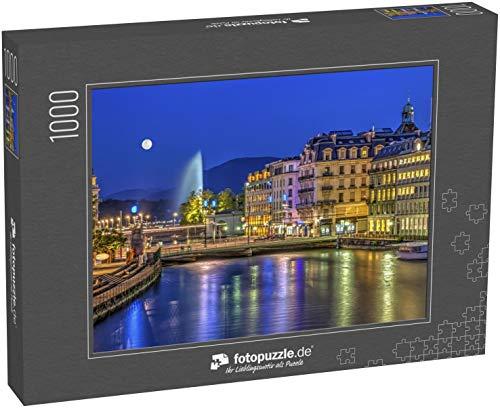 fotopuzzle.de Puzzle 1000 Teile Stadtansicht mit dem berühmten Brunnen bei Nacht mit Vollmond, Genf, Schweiz, HDR