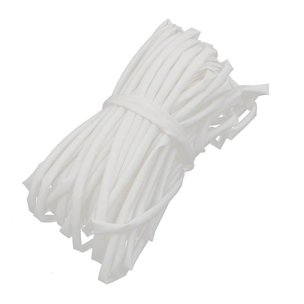 泥沼バリアボタンuxcell 熱収縮チューブ ポリオレフィン製 ホワイト 20M長さ 3mm内径 難燃性チューブ