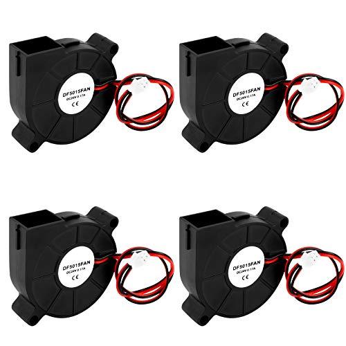 3D Drucker Lüfter 4 Stück DC 24V 2 Pin Mini Lüfter, 50 x 50 x 15mm 3D Drucker Fan mit 30cm Kabel, Turbo Gebläse Kühlung Ventilator Heizkörper Lüfter 3D Drucker Zubehör