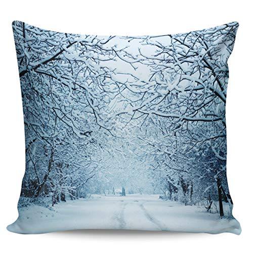 Scrummy Überwurf-Kissenbezüge 61 x 61 cm, Winter, schneebedeckte Birke, Baum, Wald, romantisch, schneebedeckter Weg, dekorative Kissenbezüge für Heimdekoration