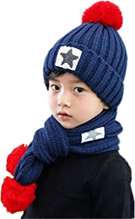 مجموعة من قطعتين من قبعات الأطفال الشتوية والوشاح من Yvechus قبعة صغيرة ووشاح للبنات من عمر 5-14 سنة