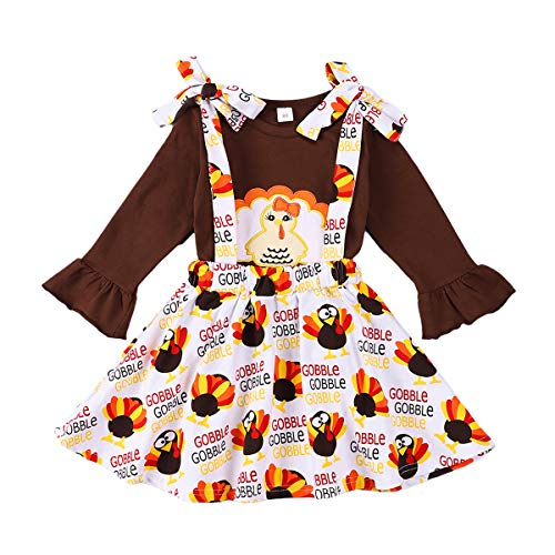 bilison Toddler Baby Girl Thanksgiving Clothes Turkey Print Ruffle Sleeve Shirt Top+Turkey Floral Skirt Dress Outfit Set