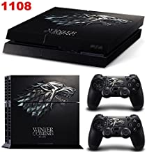 Ambur PS4 Console Designer Skin for Sony PlayStation 4 System plus Two(2) Decals for: PS4 Dualshock Controller --- Game of...