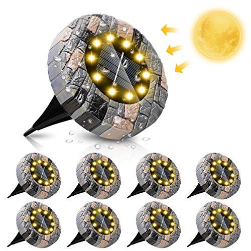 ZumYu 8 Piezas Luces Solares LED Exterior Jardin, 10 LED Iluminación Amarilla Cálida de Alto Brillo, Luces Solar de Tierra IP65 Impermeable para Camino, Calzada, Césped, Escalón, Valla de Escalera