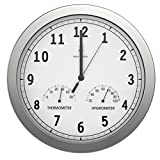 bonVIVO TIMERIDER Reloj De Pared Controlado por Radio, Alta Precisión, Reloj De Pared Silencioso De Aluminio para Salón, Cocina, Despacho, Reloj De Pared De 30.5 cm, Termómetro E higrómetro Integrado