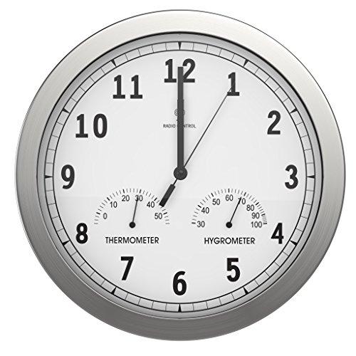 bonVIVO Horloge Murale Silencieuse - Pendule Murale Moderne Cuisine, Salon et Bureau en Aluminium avec Thermomètre et Hygromètre - 30,5 cm