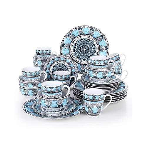 XXDTG Conjunto de vajillas de Cena de Cena de Porcelana de cerámica de 32 Piezas con Placa de Cena, Placa de Postre, tazón de Cereal, Conjunto de Taza de 380 ml