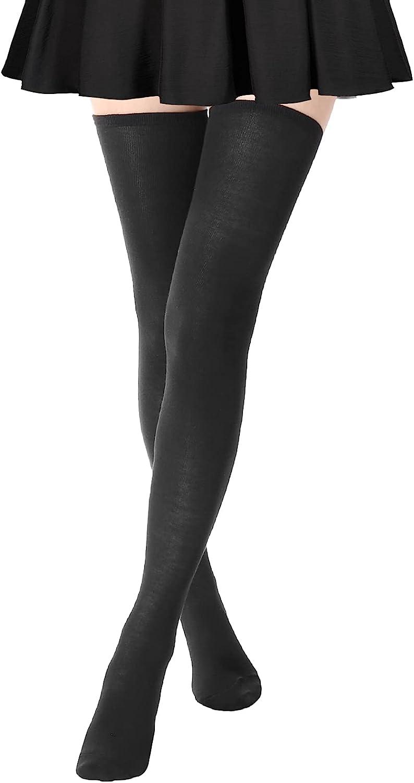 AQOKKA 5 Pairs High Thigh Socks Striped Over Knee Thin Tights Long Stocking Knee High Leg Warmer