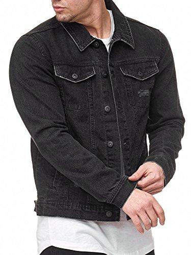 Indicode Herren Bryne Jeansjacke aus 98% Baumwolle | Moderne Jeans Jacke Herrenjacke Markenjacke Destroyed Washed Out Mens Denim Jacket Übergangsjacke Freizeitjacke für Männer Black S