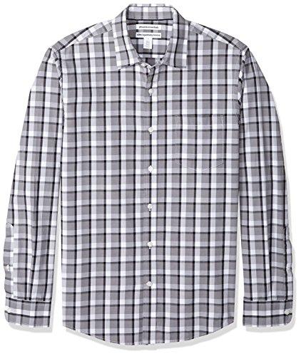 Amazon Essentials Men's Slim-Fit Long-Sleeve Casual Poplin Shirt, Grey/Black Plaid, Large