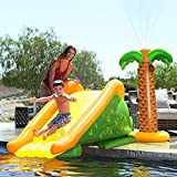 Giant Inflatable Pool Slide, Pool Side Water Slide with Palm Tree Sprinkler Play Center for Kids and Family (98.5'x39.25'x39.25')