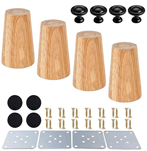 Mengger 4PCS Wooden Furniture Legs 6cm Tapered Wood Sofa Legs Replacement Straight Furniture Feet with mounting Plates Tapered Screw in Anti-Slip Mats for Sofa Table Chair Tea Cabinet Door Knobs