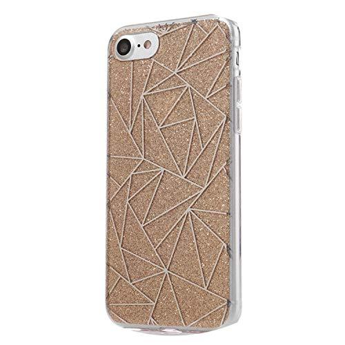 Fashion-Lover - Carcasa de TPU para iPhone 7 (revestimiento de purpurina), color negro, dorado, For iPhone 6 6S