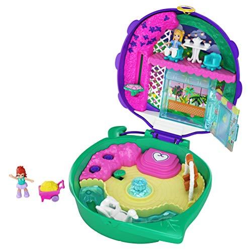Polly Pocket GKJ48 - Marienkäfer Garten Schatulle mit 2 kleinen Puppen und Zubehör, Spielzeug ab 4 Jahren