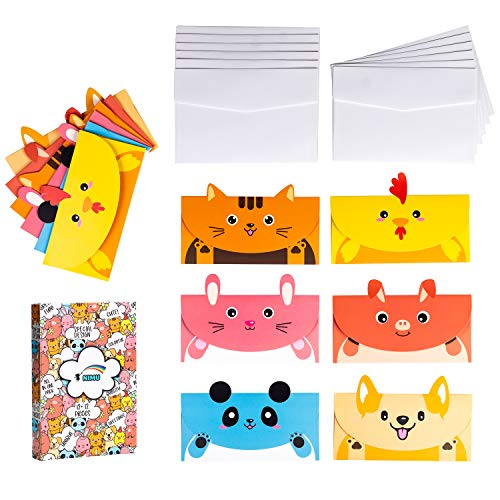 NIMU 12 Pieces Animal Stationery Paper With 12 Piece Envelope Gift For Kids,12 Assorted Animal Cards Boxed Cute Animals Design Ideal For Greeting,Thank You,Birthday,Motivational, Holiday Cards Prime