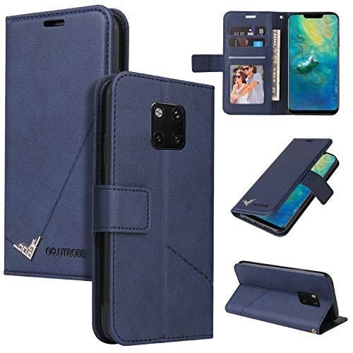 LODROC Huawei [Mate 20 Pro] Hülle, TPU Lederhülle Magnetische Schutzhülle [Kartenfach] [Standfunktion], Stoßfeste Tasche Kompatibel für Huawei Mate 20Pro - LOYKB0600340 Blau
