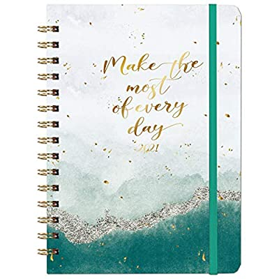 "2021 Planner - 2021 Weekly & Monthly Planner Jan - Dec with Tabs, 6.3"" x 8.4"", Hardcover with Back Pocket + Thick Paper + Banded, Twin-Wire Binding - Gold Foil"