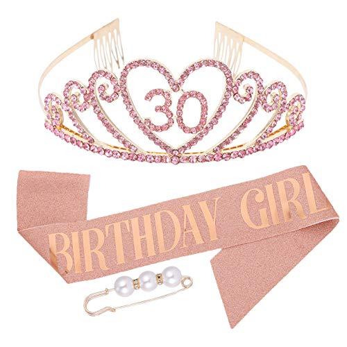 Veraing 30.Geburtstags-Krone Schärpe, Geburtstags Kristall Tiara für Frauen Birthday Crown Prinzessin Haar-Zusätze für Frauen Party Accessoires (Krone + Schärpe + Haarnadel)( Roségold)