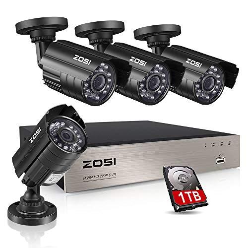 ZOSI CCTV DVR Videoüberwachung System 8CH 720P 4in1 AHD/TVI/CVI/Analog Recorder mit 4 Außen HD 720P Überwachungskamera Set 1TB Festplatte, 40M IR Nachtsicht, Metallgehäuse