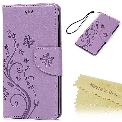 bq Aquaris E5s/E5 4G LTE Funda Libro de Cuero Impresión Suave PU Leather Carcasa Con Flip Case Cover Gel TPU,Función de Soporte,Billetera con Tapa para Tarjetas - Púrpura