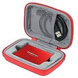co2CREA Étui de Voyage Rigide Housse Cas pour Samsung Disque Dur Externe SSD Portable T3 / T5 250 GB 500 GB 1 TB 2 TB(boîte Seule)(Rouge Case with Inner Box)