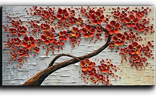 TBMX Öl auf Leinwand Gemälde, handgemalte Moderne abstrakte strukturierte 3D-Messer zeichnen einen roten Baum große Wandkunst Gemälde, Dekor Kunst,Rahmenlos (100 x 50 cm)