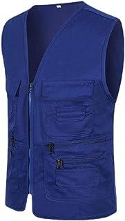 Men Outdoor Military Fleece Outerwear Travel Vest Full Zip Workwear