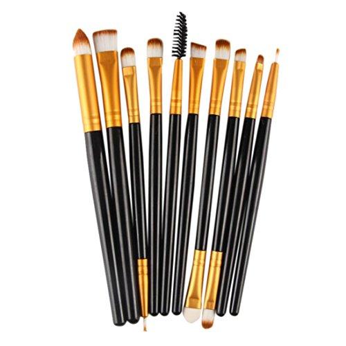 Xshuai Lot de 10 pinceaux de maquillage en laine Noir