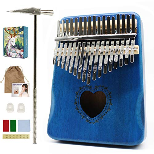 Kalimba 17-Keys Thumb-Piano mbira-kalimba - with Study Instruction and Tune Hammer Portable Mbira Sanza African Wood Finger Piano Gift for Kids Adult Beginners Professional Birthday Gift (Love-Blue)
