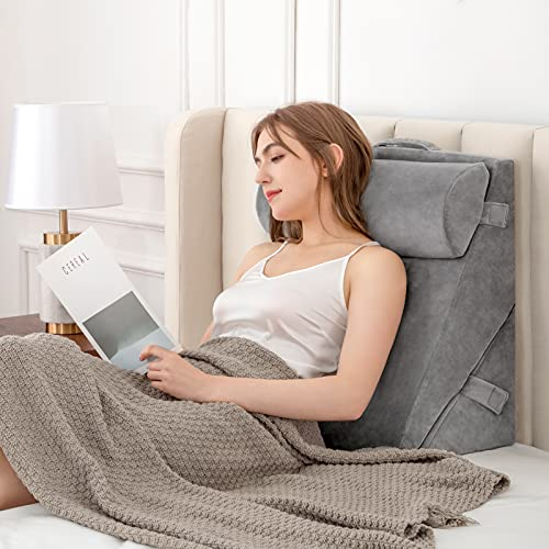 Bed Wedge Pillows Adjustable Leg Elevation Reading Pillow & Back Support Wedge Pillow for Back and Legs Support, for Back Pain, Leg Pain, Pregnancy, Neck and Shoulder Joint Pain, Sleeping