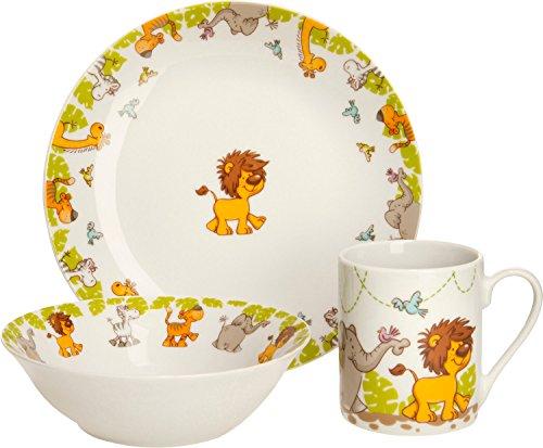 Gepolana Kindergeschirr 3-TLG. - Geschirrset für Kinder - Porzellan - Tiere - Zoo - spülmaschinengeeignet - mikrowellengeeignet