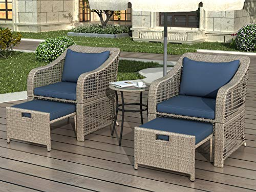 Merax 5-Piece Outdoor Bistro Set Patio Furniture Set Conversation Set Rattan Wicker Chairs with Stools and Tempered Glass Table, Navy Cushions