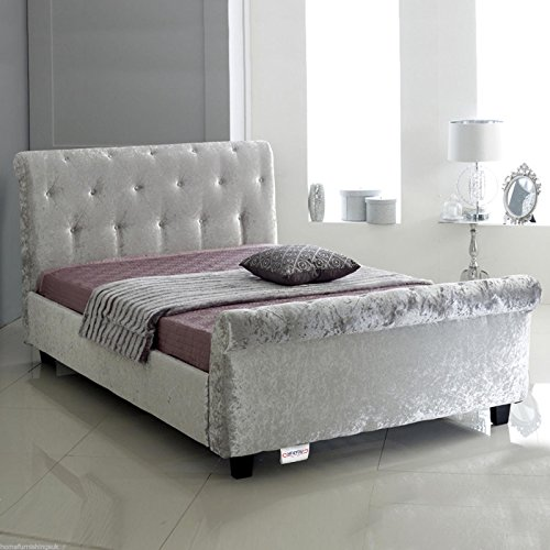 Home Furnishings UK Hf4you Bucky Crushed Velvet Sleigh Bed - 4FT Small Double - Silver - 6' Memory Foam Mattress