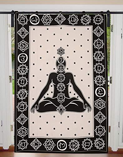 Hippie - Cortinas para puerta, diseño de topos, estilo bohemio, para decoración de ventanas, cortinas de balcón y ventanas étnicas y paneles, tamaño doble, 125 cm x 208 cm, cortina individual