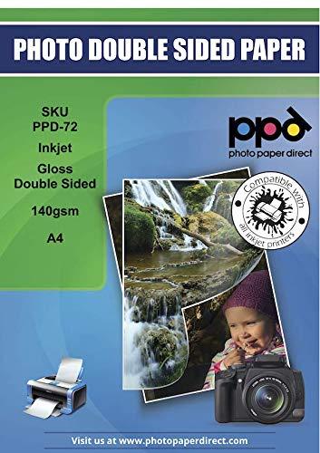 PPD A4 x 50 Blatt PREMIUM Inkjet 140 g/m2 Flyerpapier (Broschürenpapier) beidseitig hochglänzend beschichtet und beidseitig bedruckbar DIN A4 x 50 Blatt PPD-72-50