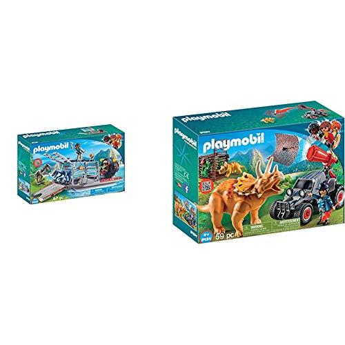 PLAYMOBIL Dinos Hidrodeslizador con Jaula, Flotante, a Partir de 4 Años (9433) + Dinos Coche con Triceratops, a Partir de 4 Años (9434)