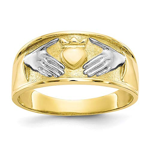 10k Yellow Gold Mens Irish Claddagh Celtic Knot Band Ring Size 10.00 Man Fine Jewelry For Dad Mens Gifts For Him