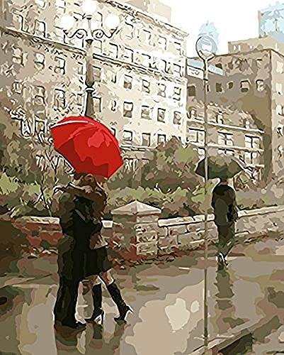 Xpboao Pintar por números - Abrazo bajo el Paraguas Rojo - Pintura de Arte Moderno - Kit de Pintura de Bricolaje Adecuado para Adultos y Principiantes - 40x50cm - Sin Marco
