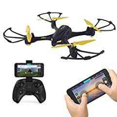 Equip with one Hubsan HT009 controller 2.4GHz frequency . Connect to H507A+ via cellphone WIFI, compatible with IOS/Android systems and real time FPV . Function: GPS,WIFI,APP compatible,720P HD camera,headless/altitude mode,RTH,follow me . App Downlo...