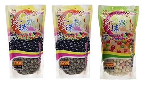 Wufuyuan Tapioca Pearls (2) Black 8.8 oz & (1) Colorful Pearls 8.8 oz (Pack of 3)
