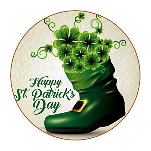 Posavasos con diseño de tréboles verdes en el interior de la bota para el día de San Patricio, 6 piezas, colorido único y de fibra de cuero, antideslizante, para beber, redondo, hermoso regalo