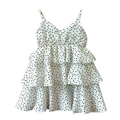 Livoral Mädchen Print Party Prinzessin Kleid Kleinkind Kind Baby Kleidung ärmellose Liebe(Weiß,130)