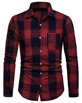 WHATLEES Men's Long Sleeve Plaid Classic Button Down Shirts