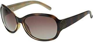 Foster Grant Women's Dialogue Polarized Round Sunglasses, Tortoise/Rose, One Size