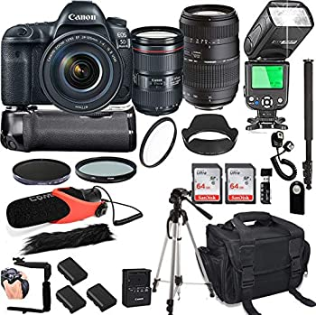 Canon EOS 5D Mark IV with 24-105mm f/4 L is II USM + Tamron 70-300mm + 128GB Memory + Canon Camera Bag + Pro Battery Bundle + Power Grip + Microphone + TTL SpeedLight + Pro Filters 24pc Bundle